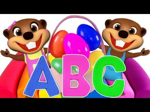 ABC Surprise Eggs Kinetic Sand | Teach ABC Song for Children | Learn Colors with Learning Toys