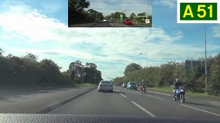 preview picture of video 'A51 - Tarvin to Chester (Part 1) - Front View with Rearview Mirror'