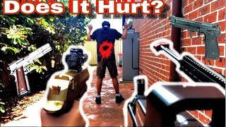 Does it hurt challenge! Gel guns vs human body! (50 subs special)