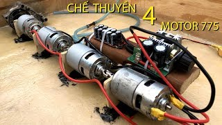 Making boats using 4 Motor 775 Speed 25km / h   Boat 4 Motor 775, 14 nautical miles