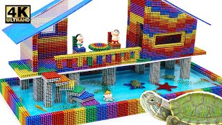 DIY - How To Build House On Stilts For Turtle From Magnetic Balls (Satisfying)   Magnet World Series