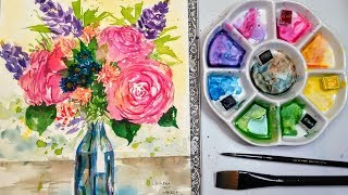 Live: Lose Flower Bouquet in Watercolor 12:30pm ET // Beginner friendly!