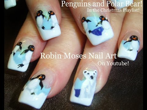 Cute Polar Bear & Penguin Nails | Winter Nail Art Design Tutorial