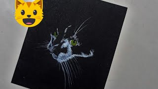 How To Draw On Black Paper - Cat Face  / Art Gallery #2