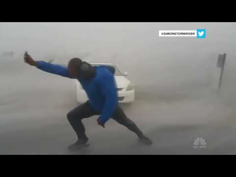 Storm Chaser Battles Hurricane Irma's Powerful Winds   NBC News