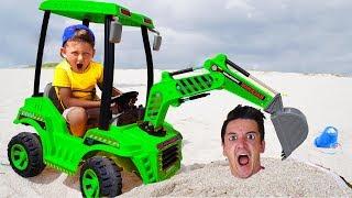 Senya and papa Sleeping & Tractor Adventures