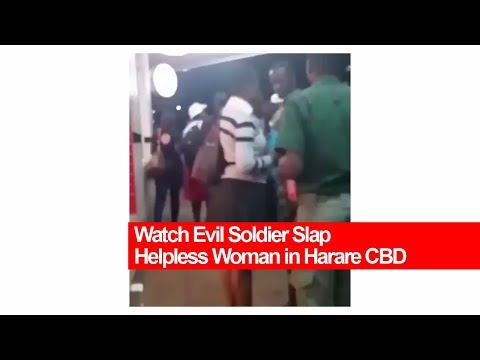 Watch Evil Soldier Slap Helpless Woman in Harare CBD