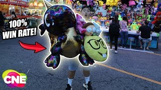 $100 CARNIVAL GAMES CNE CHALLENGE! 100% WIN RATE! OMG! (Canadian National Exhibition THE CNE 2018)