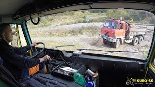 TATRA 815-2 E2 transport macadam | TATRA V8 sound | truck cab view