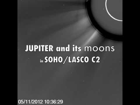 Jupiter and two of its moons in SOHO/LASCO C2