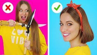 КРУТЫЕ ИДЕИ ДЛЯ УКЛАДКИ ВОЛОС || Веселые моменты и проблемы с волосами от 123 GO!
