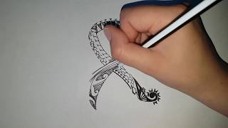 How To Draw An Awareness Ribbon Tattoo
