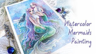 Mermaid Sisters Fantasy Watercolor Painting Demonstration
