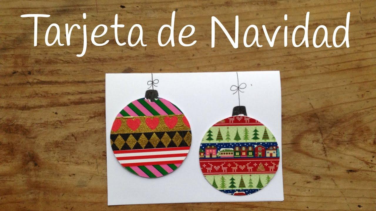 Tarjetas de Navidad para niños con bolas navideñas de whasi tape