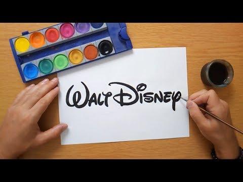 How to draw a Walt Disney logo