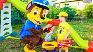Щенячий патруль КРЕПЫШ Горка SMOBY Игрушки Щенячий патруль на детской площадке Видео для детей