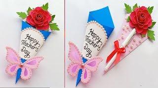 DIY Teacher's Day Pen gift card // How to make Teacher's day card
