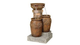 "Tuscan Faux Stone 31 1/2"" High Patio Floor Fountain"