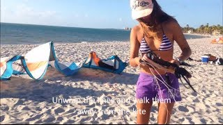Kiteboarding Lessons 1 - Kite set up
