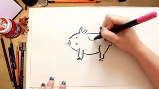 Como dibujar un Cerdo - dibujos para niños