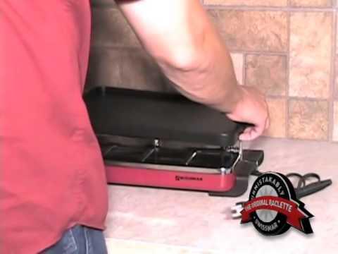 , Swissmar KF-77073 Swivel 8-Person Raclette with Granite Stone and Cast Aluminum Non Stick Grill Plate, Black
