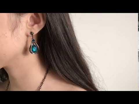 Damen SCHMUCKSET Collier Halskette Türkis Ohrringe Halskette Silber Türkis
