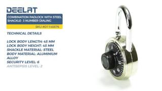 Combination Padlock with Steel Shackle- 3 Number Dialing