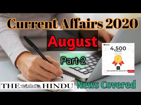 Current Affairs 2020 in English and Hindi for UPSC|WBCS|SSC|AUGUST| Weekly|PART 2