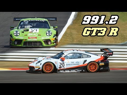 Porsche 991.2 GT3 R - fly-by's & downshifts (24h of Spa 2019)