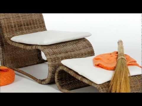 Rattan Sessel - bequem Lesen - Sessel mit Fußhocker von massivum