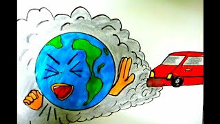 Save Earth Stop Pollution Easy Drawing For Kids || Save Environment Poster || Stop Global Warming