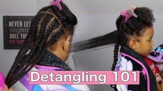 Taking Down Braids &  Detangling 101 ▸ Natural Hair For Kids