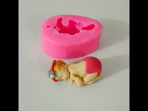 How to make Fondant Baby with Silicone Mold.      Easy Baking