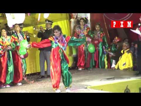 Candidatas en traje de pepino desfilan en la elección de la Reina Anata 2017