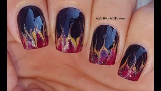 FALL NAIL ART IDEAS 2018 #2 / Dark Brown Nails With Flame-Like Tips