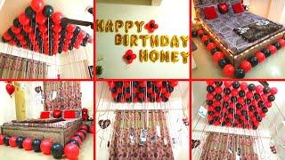Romantic Bedroom Decoration For Birthday Surprise For Wife - Balloon Decoration Ideas | Het Decor