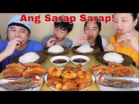 Chicken Hamonado, Deep Fried Liempo Bagnet Style and Fried Fish Salay Salay Pinoy Mukbang!