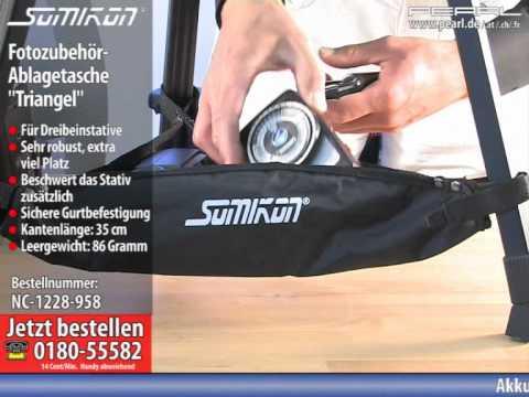 """Somikon Fotozubehör-Ablagetasche """"Triangel"""" für Dreibein-Stative"""