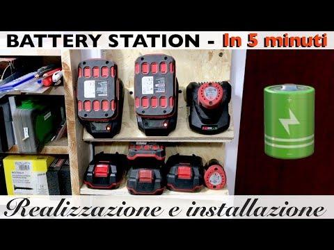 Battery Station Fai da te. Per batterie per utensili. Con mensola cariche/scariche. lidl. parkside