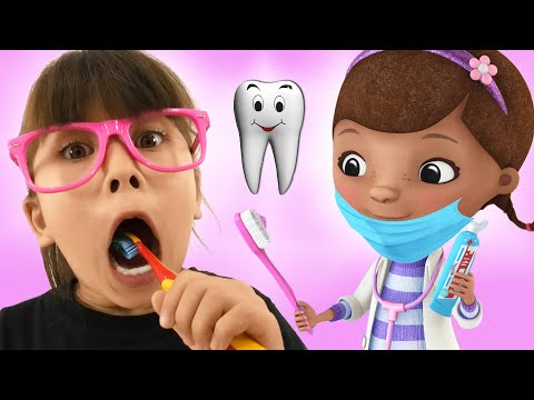 Tooth Fairy Story with Abby Hatcher and Doc Mcstuffins. Pretend play dentist