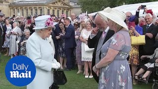 What A Day For A Garden Party! Queen Smiles Talking To Guest