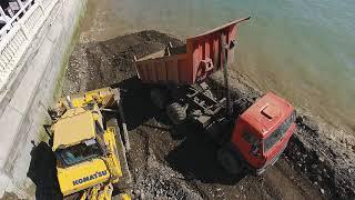 Сочи Лазаревское Лоо Спасение восстановление отсыпка пляжа 2018 4К