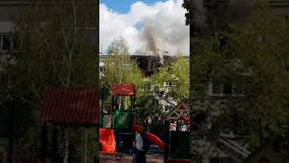Сильный пожар в Щербинке 8 августа 2018 года.