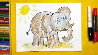 Смотреть онлайн Как поэтапно рисовать слона для детей