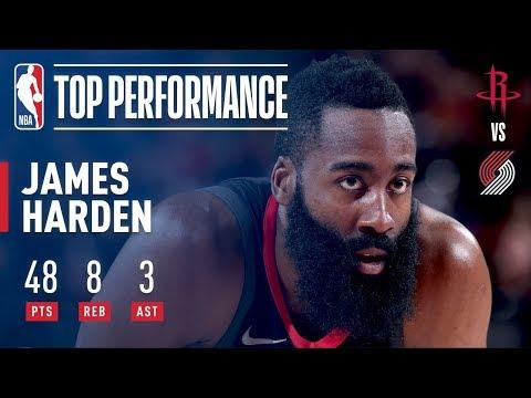 James Harden Scores 48 Pts in Comeback Win Over Blazers | December 9, 2017