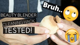 BEAUTY BLENDER MICROWAVE CLEANING HACK TESTED! | WATCH THIS BEFORE TRYING AT HOME!