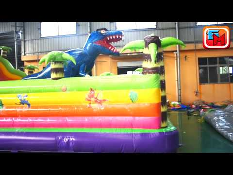 Коммерческий надувной батут «Хамелеон и динозавры» без порожка, размер 12x7x6 м.