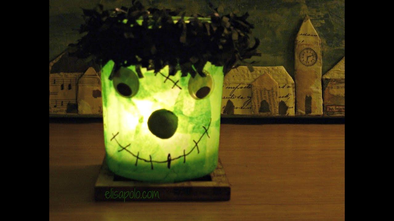DIY Cómo hacer Decoraciones para Halloween, Lámpara Frankenstein,  Halloween Candle