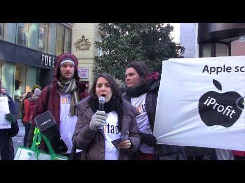 Apple Store eröffnet - attac-Protest!: Apple steigert Profite durch Steuerhinterziehung! (24.2.2018)