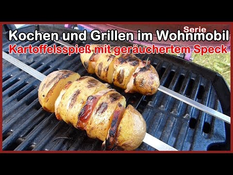 Weber Gasgrill Q1200 Kartoffelspieß mit geräuchertem Speck, Quark , frische Kräuter, Gasgrill